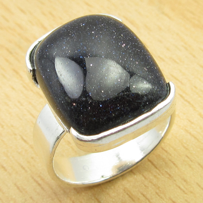 PARTNER-Ring-Size-L-1-2-Silver-Plated-BLUE-GOLDSTONE-Jewellery-NEW