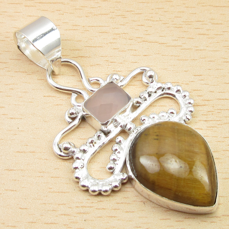AQUA CHALCEDONY /& RED TIGER/'S EYE /& Other Gem LOVELY Pendant 925 Silver Plated