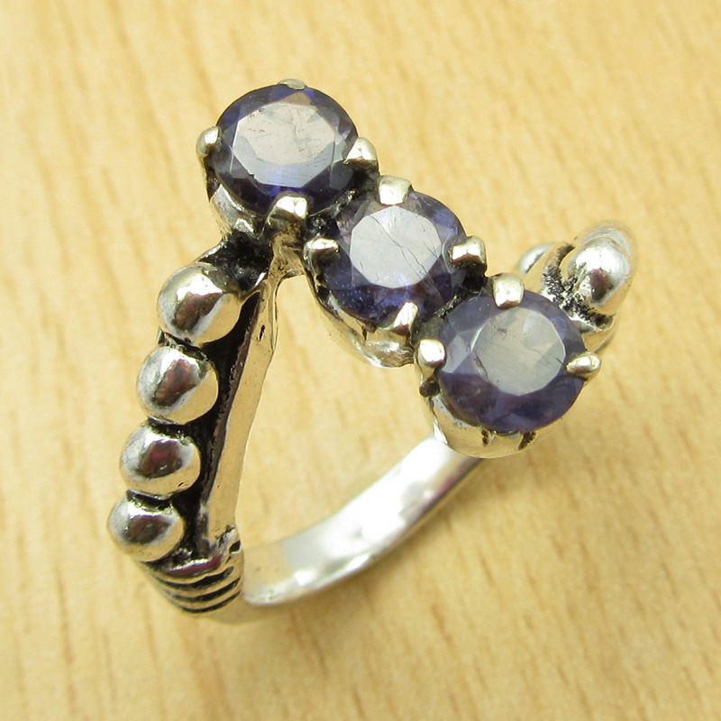 MANY-SIZES-MANY-STONE-925-Silver-Plated-IOLITE-amp-Other-Gem-Claw-Setting-RING thumbnail 5