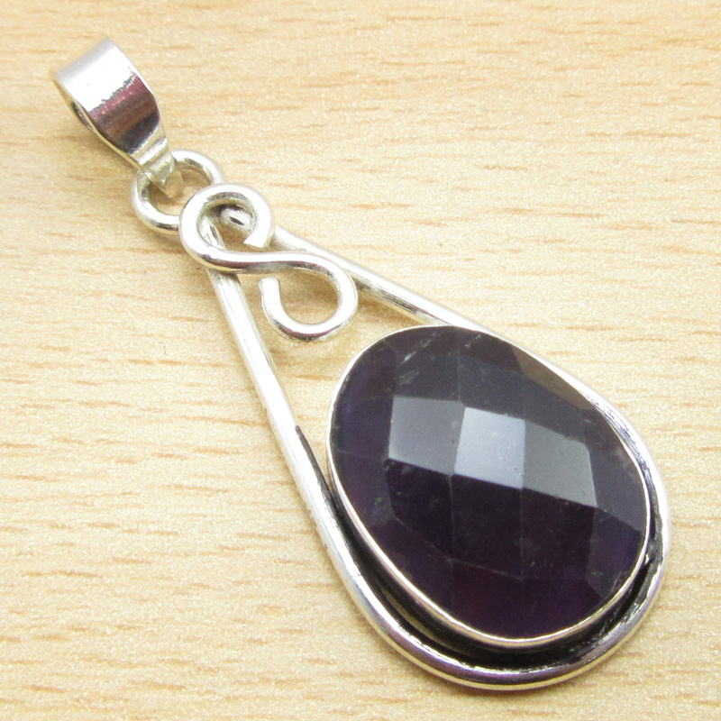 925 Silver Plated Real AQUA CHALCEDONY /& Other MULTIPLE CHOICES Gemstone Pendant