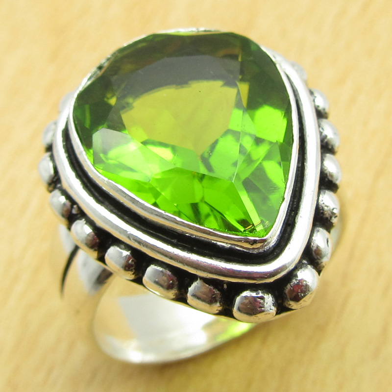 size us 7 s ring real peridot glass silver plated