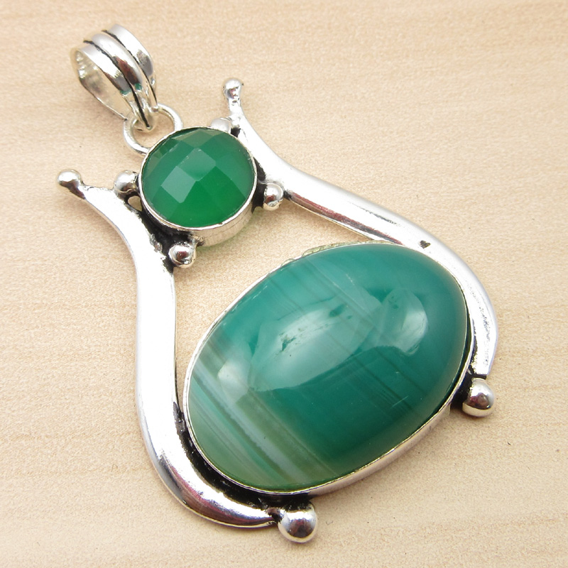 925-Silver-Plated-GREEN-SEA-CHALCEDONY-amp-CRYSTAL-amp-Other-Gemstone-Pendant-Gift thumbnail 17