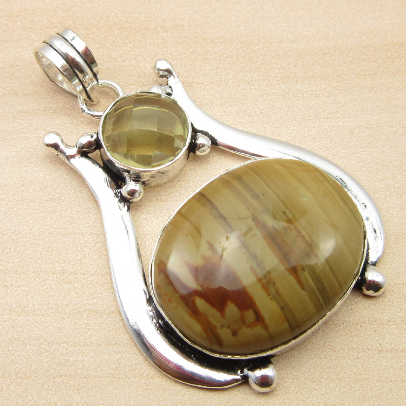 925-Silver-Plated-GREEN-SEA-CHALCEDONY-amp-CRYSTAL-amp-Other-Gemstone-Pendant-Gift thumbnail 21