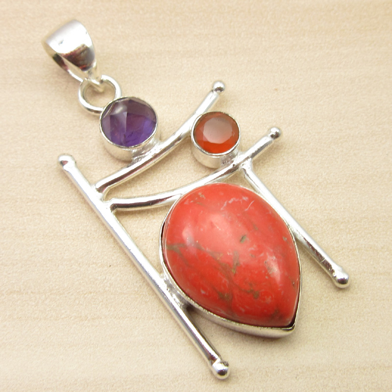 925-Silver-Plated-ORANGE-COPPER-TURQUOISE-amp-Other-Gemstone-Pendant-MANY-CHOICES thumbnail 2