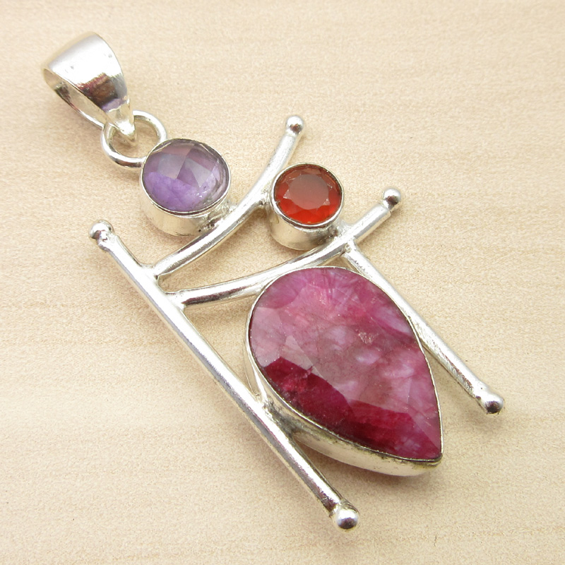 925-Silver-Plated-ORANGE-COPPER-TURQUOISE-amp-Other-Gemstone-Pendant-MANY-CHOICES thumbnail 22