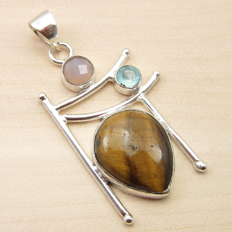 925-Silver-Plated-ORANGE-COPPER-TURQUOISE-amp-Other-Gemstone-Pendant-MANY-CHOICES thumbnail 23