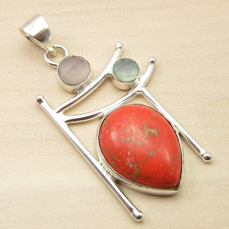 925-Silver-Plated-ORANGE-COPPER-TURQUOISE-amp-Other-Gemstone-Pendant-MANY-CHOICES thumbnail 15