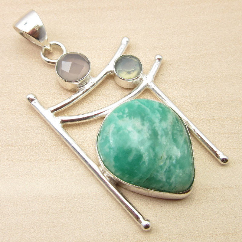 925-Silver-Plated-ORANGE-COPPER-TURQUOISE-amp-Other-Gemstone-Pendant-MANY-CHOICES thumbnail 4