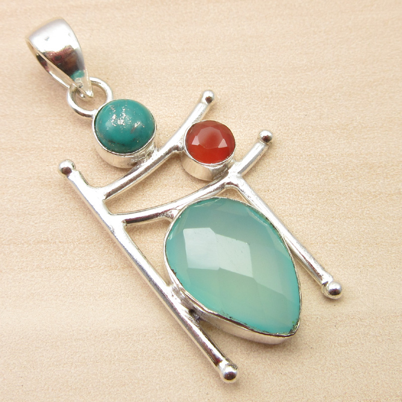 925-Silver-Plated-ORANGE-COPPER-TURQUOISE-amp-Other-Gemstone-Pendant-MANY-CHOICES thumbnail 5