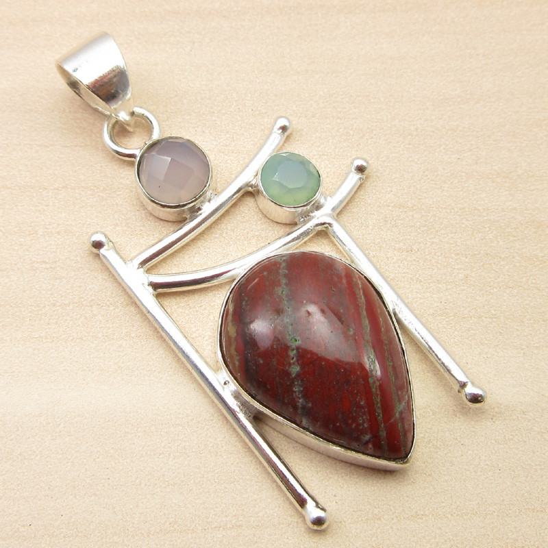 925-Silver-Plated-ORANGE-COPPER-TURQUOISE-amp-Other-Gemstone-Pendant-MANY-CHOICES thumbnail 7