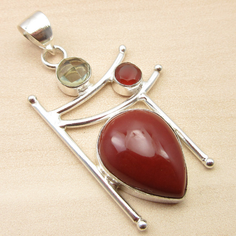 925-Silver-Plated-ORANGE-COPPER-TURQUOISE-amp-Other-Gemstone-Pendant-MANY-CHOICES thumbnail 17