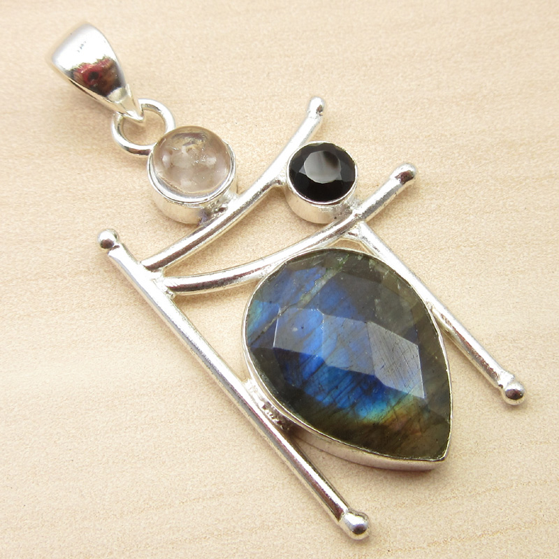 925-Silver-Plated-ORANGE-COPPER-TURQUOISE-amp-Other-Gemstone-Pendant-MANY-CHOICES thumbnail 12