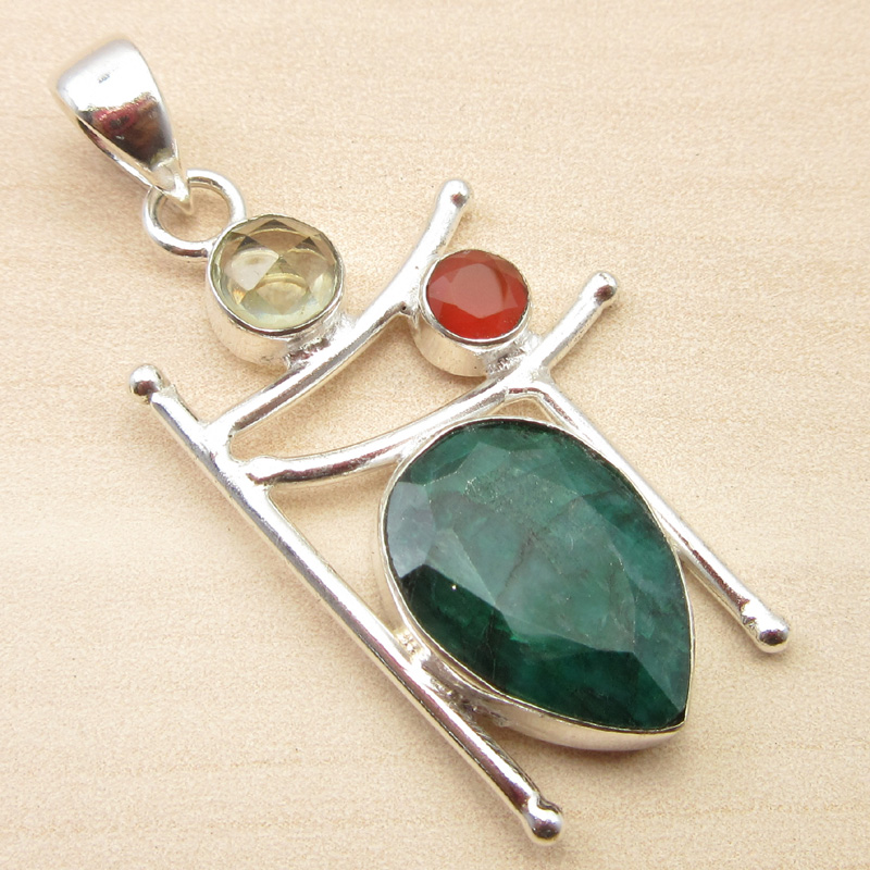 925-Silver-Plated-ORANGE-COPPER-TURQUOISE-amp-Other-Gemstone-Pendant-MANY-CHOICES thumbnail 20