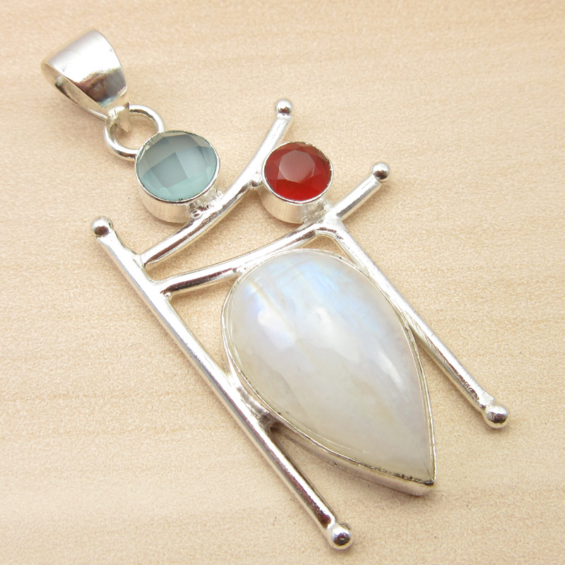 925-Silver-Plated-ORANGE-COPPER-TURQUOISE-amp-Other-Gemstone-Pendant-MANY-CHOICES thumbnail 16