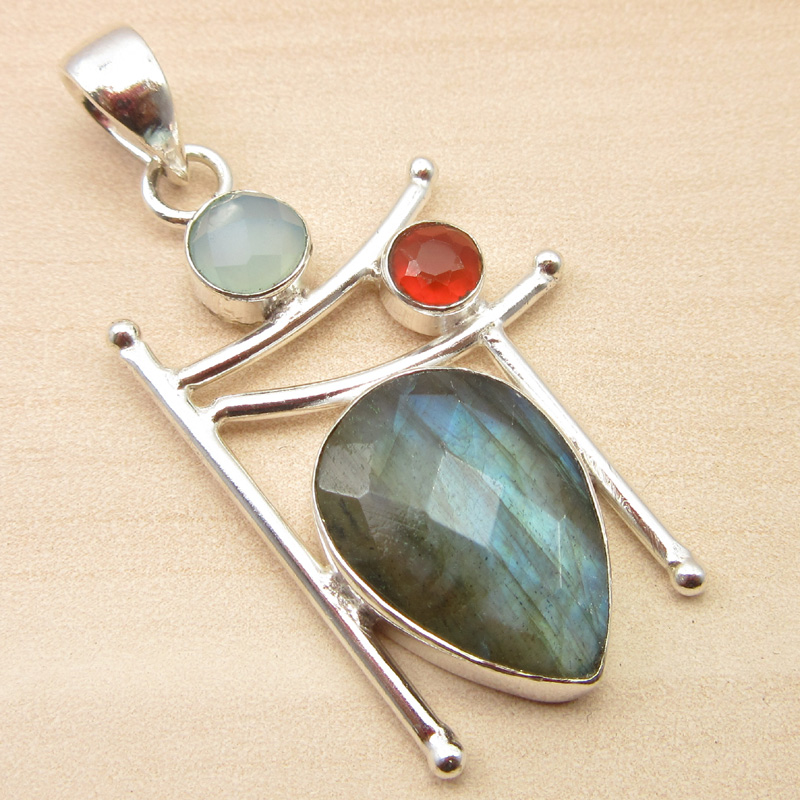 925-Silver-Plated-ORANGE-COPPER-TURQUOISE-amp-Other-Gemstone-Pendant-MANY-CHOICES thumbnail 14
