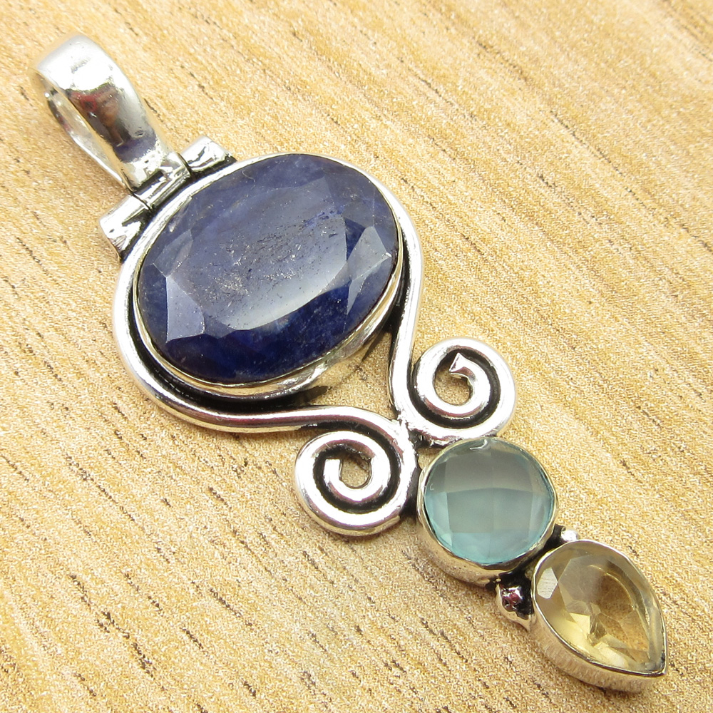 925-Silver-Plated-SIMULATED-SAPPHIRE-CHALCEDONY-PREHNITE-amp-Other-Stone-Pendant thumbnail 2