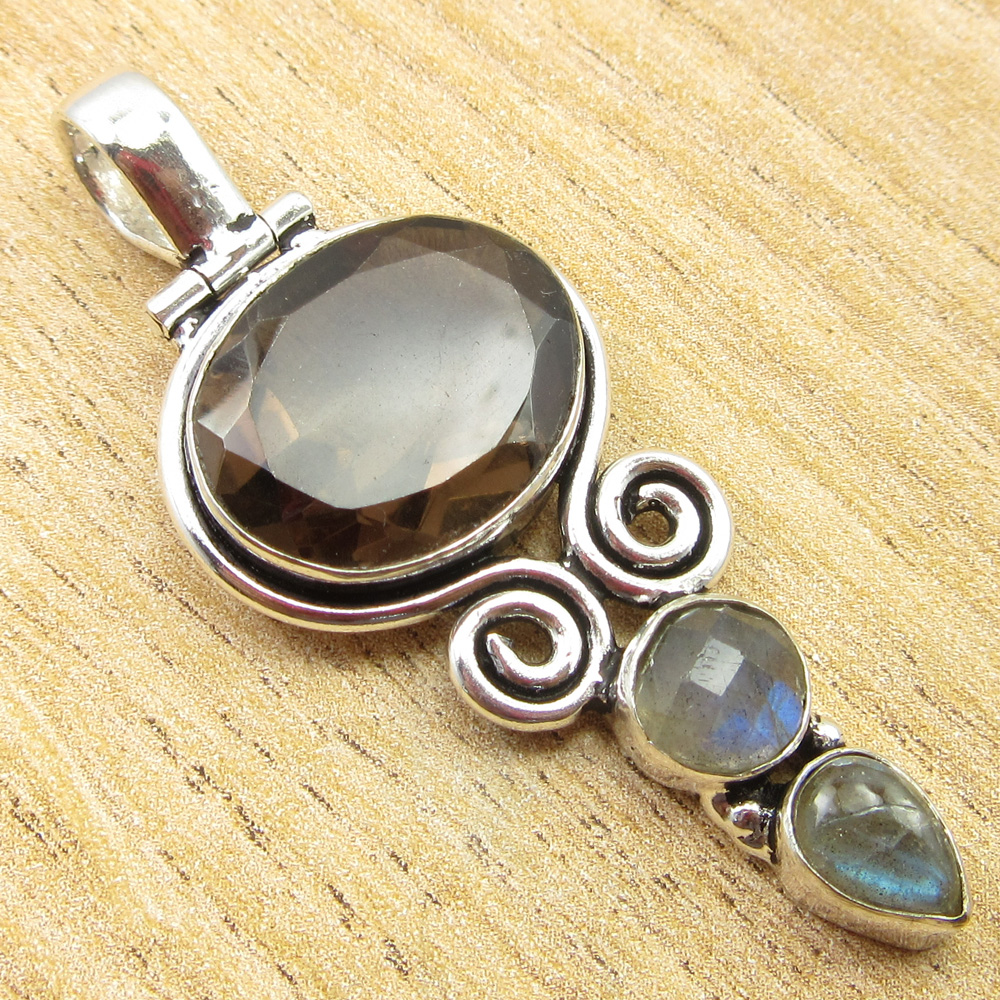 925-Silver-Plated-SIMULATED-SAPPHIRE-CHALCEDONY-PREHNITE-amp-Other-Stone-Pendant thumbnail 16