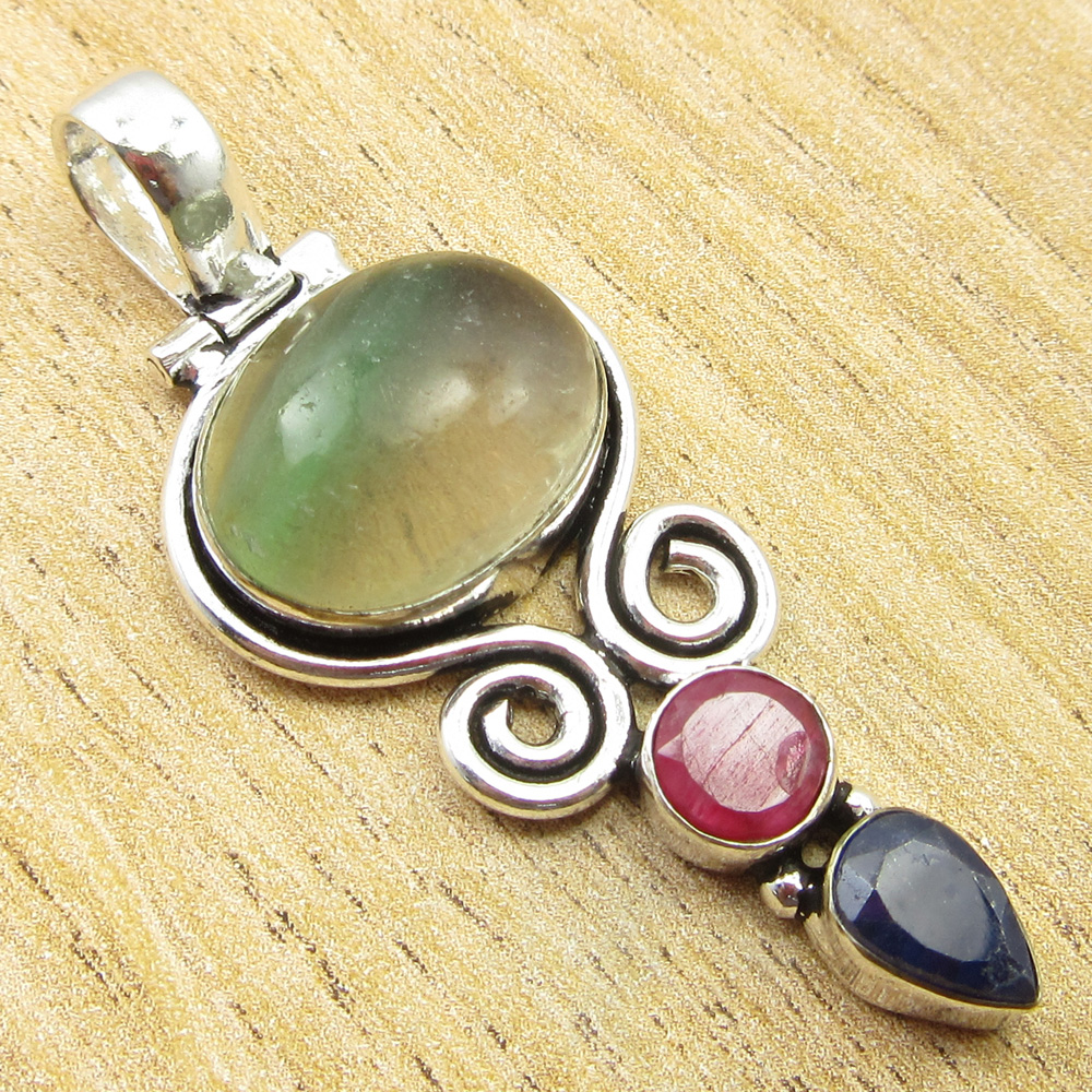 925-Silver-Plated-SIMULATED-SAPPHIRE-CHALCEDONY-PREHNITE-amp-Other-Stone-Pendant thumbnail 9