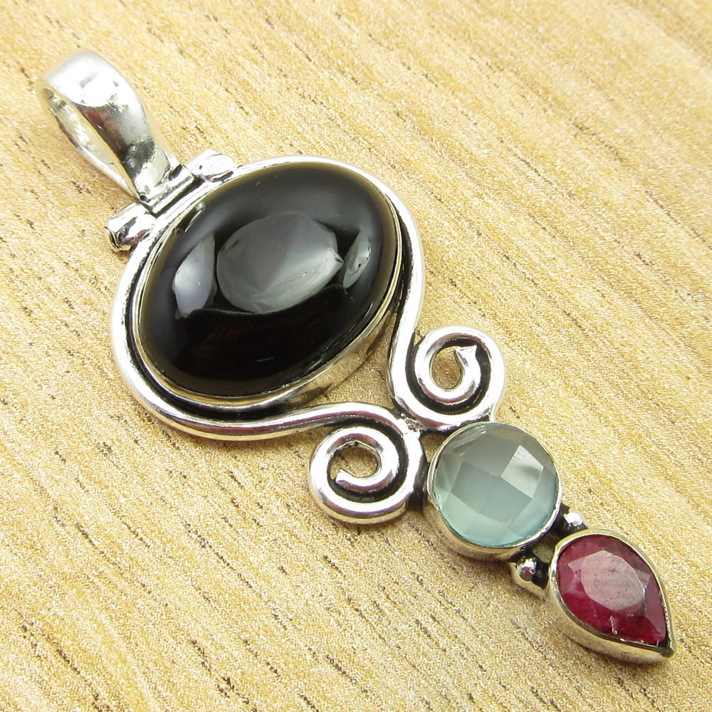 925-Silver-Plated-SIMULATED-SAPPHIRE-CHALCEDONY-PREHNITE-amp-Other-Stone-Pendant thumbnail 4