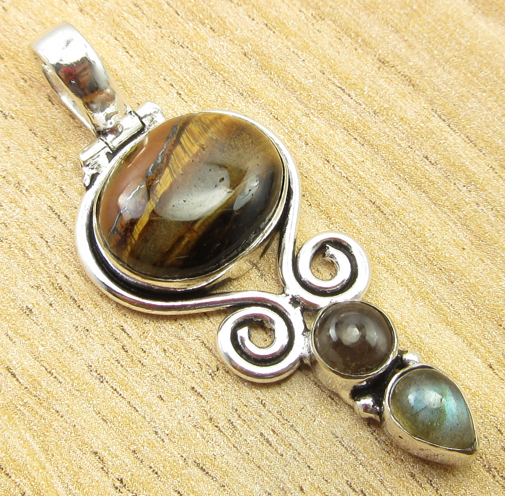 925-Silver-Plated-SIMULATED-SAPPHIRE-CHALCEDONY-PREHNITE-amp-Other-Stone-Pendant thumbnail 19