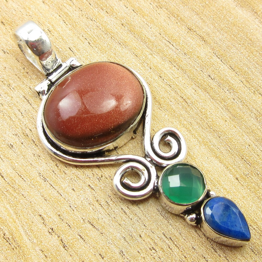 925-Silver-Plated-SIMULATED-SAPPHIRE-CHALCEDONY-PREHNITE-amp-Other-Stone-Pendant thumbnail 12