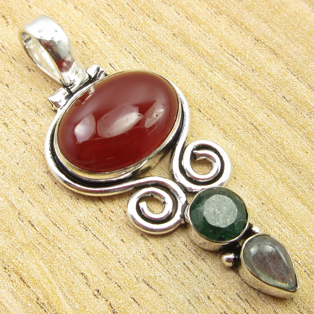 925-Silver-Plated-SIMULATED-SAPPHIRE-CHALCEDONY-PREHNITE-amp-Other-Stone-Pendant thumbnail 7