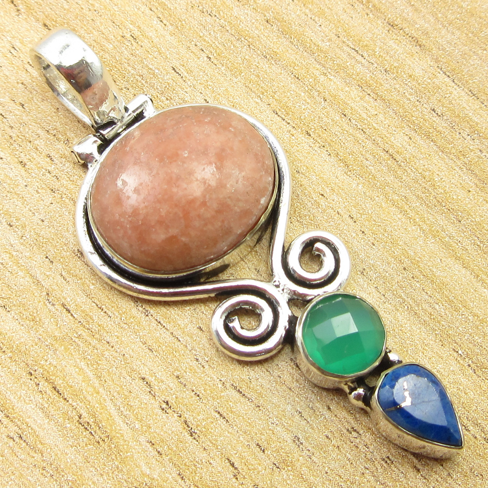925-Silver-Plated-SIMULATED-SAPPHIRE-CHALCEDONY-PREHNITE-amp-Other-Stone-Pendant thumbnail 3