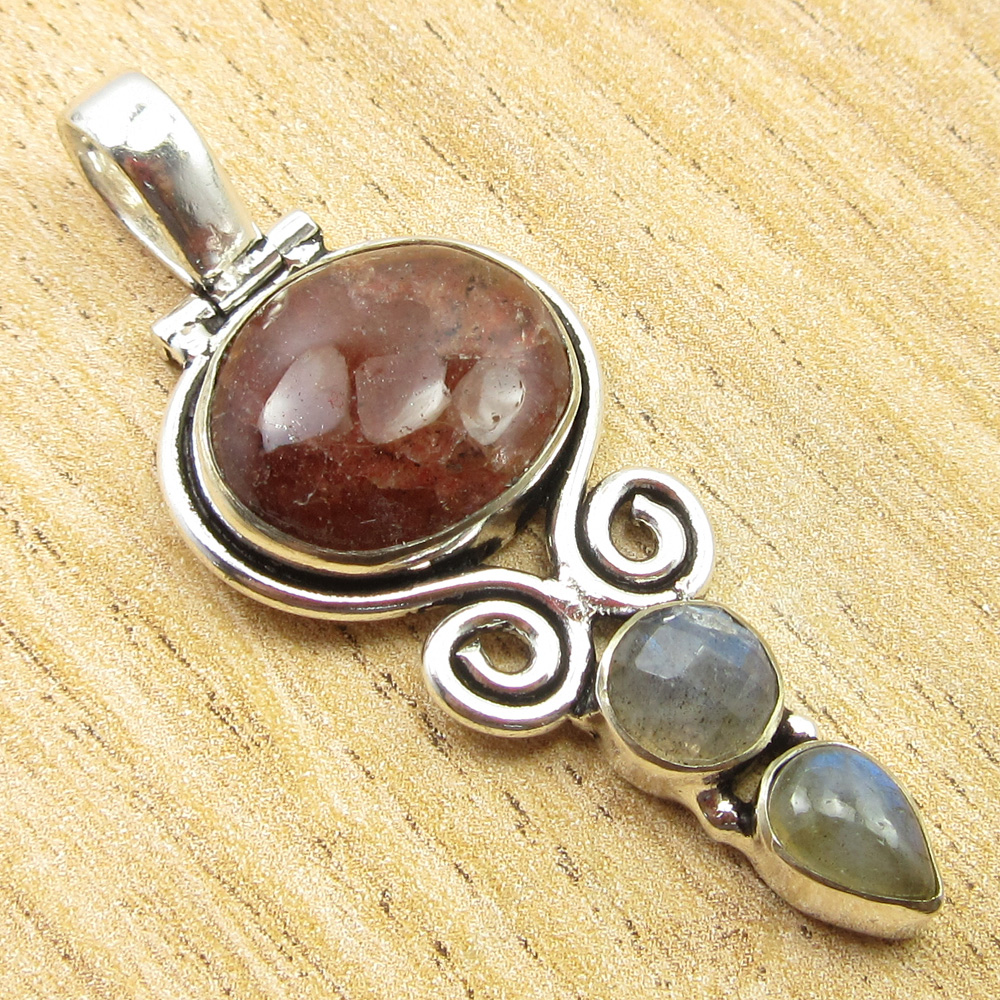925-Silver-Plated-SIMULATED-SAPPHIRE-CHALCEDONY-PREHNITE-amp-Other-Stone-Pendant thumbnail 18