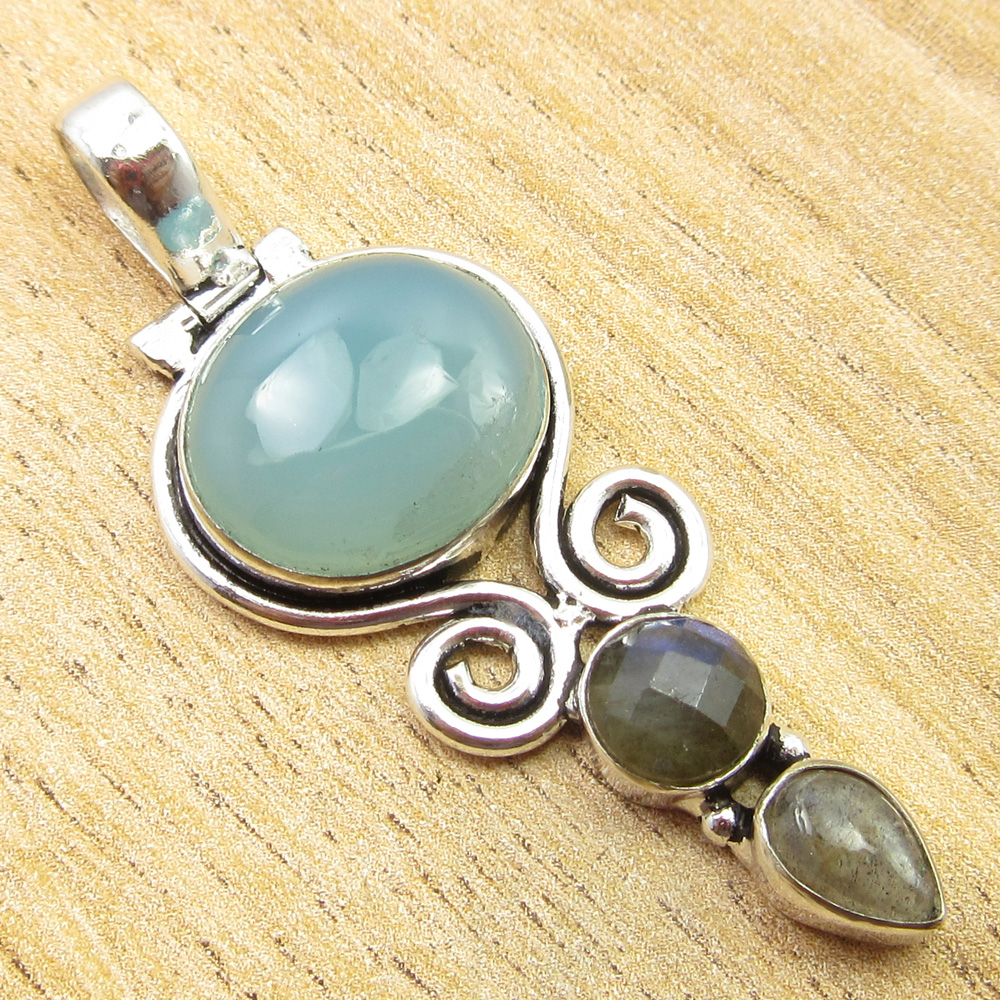 925-Silver-Plated-SIMULATED-SAPPHIRE-CHALCEDONY-PREHNITE-amp-Other-Stone-Pendant thumbnail 8
