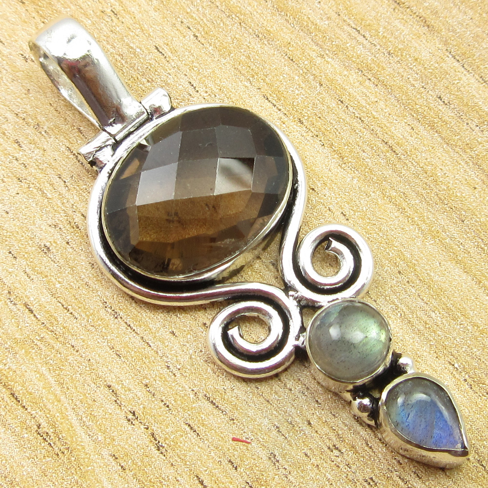 925-Silver-Plated-SIMULATED-SAPPHIRE-CHALCEDONY-PREHNITE-amp-Other-Stone-Pendant thumbnail 17