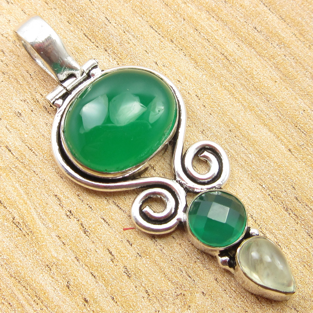 925-Silver-Plated-SIMULATED-SAPPHIRE-CHALCEDONY-PREHNITE-amp-Other-Stone-Pendant thumbnail 13