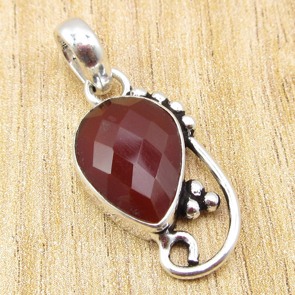 925 Silver Plated RAINBOW MOONSTONE /& Other Gemstone Pendant Multiple Choices