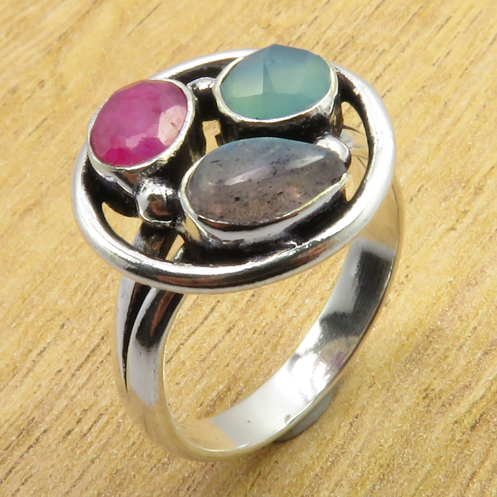 925 Silver Plated MULTICOLOR HANDCRAFTED CHUNKY Ring Gemstone Of Your Choice !