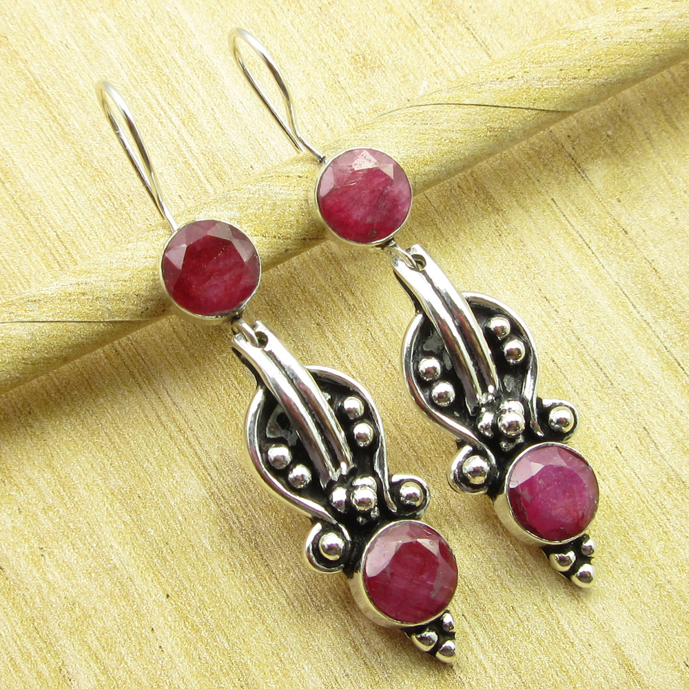 925 Silver Plated SIMULATED RUBY /& Other FASHION Gemstones Variation Earrings