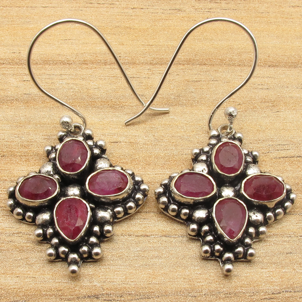Variety of Earrings 925 Silver Plated SIMULATED RUBY /& Other Gemstones Jewelry