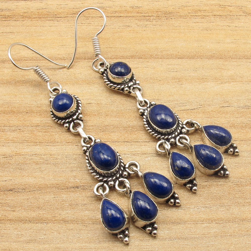 925 Silver Plated Real LAPIS LAZULI /& Other Gemstone Variation Earrings