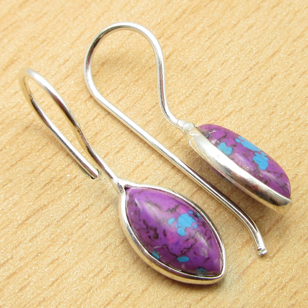 925-Silver-Plated-PURPLE-COPPER-TURQUOISE-New-Earrings-with-Free-Indian-Jhumka