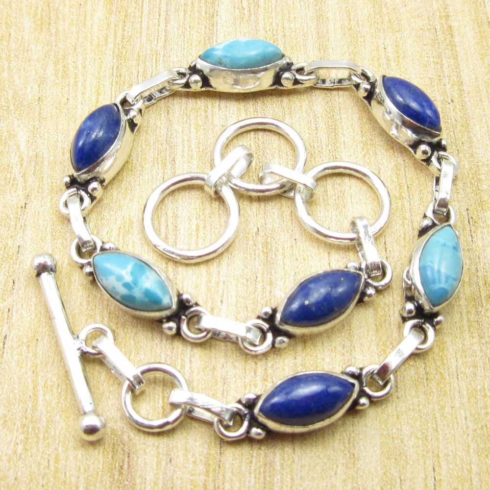 """ADULT Bracelet Real LAPIS LAZULI Gem Silver Plated Jewelry 8/"""" Flawless Fit"""
