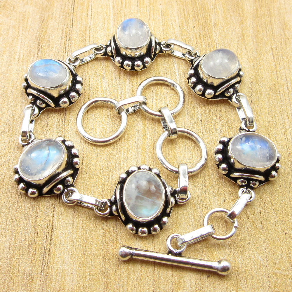 7 Inch Silver Plated Genuine Moonstone Chain Bracelet