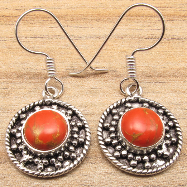 MANY-STYLES-EARRINGS-ORANGE-COPPER-TURQUISE-Gems-Silver-Plated-Fashion-Jewelry