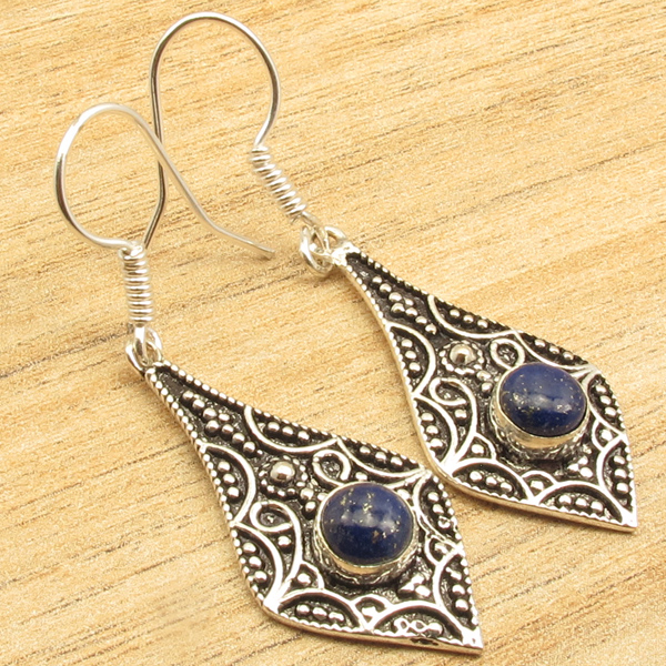 925-Silver-Plated-Navy-Blue-LAPIS-LAZULI-Gem-Earrings-Different-Styles-amp-Shapes