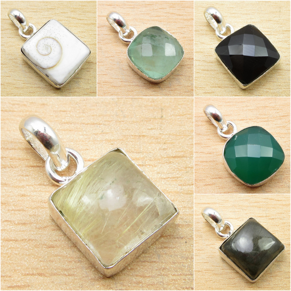 925 Silver Plated CROSS Pendant Ancient Style GEMSTONE Choice Jewelry